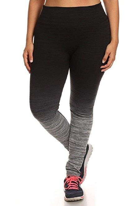 Plus Size Women Yoga Tech Fade Leggings
