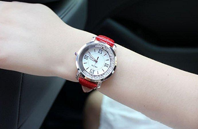 Women's Rhinestone Rome Watch Leisure Waterproof Leather Strap Watch