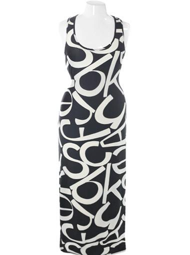 Plus Size Bold Print Maxi Black Dress