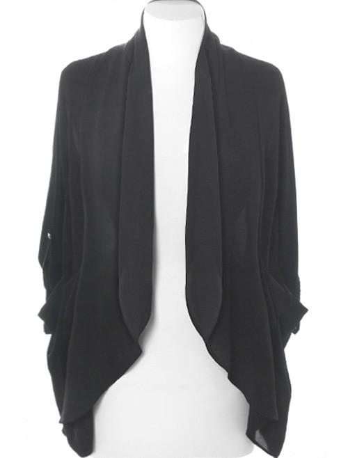 Plus Size Designer Sheer Drape Black Cardigan