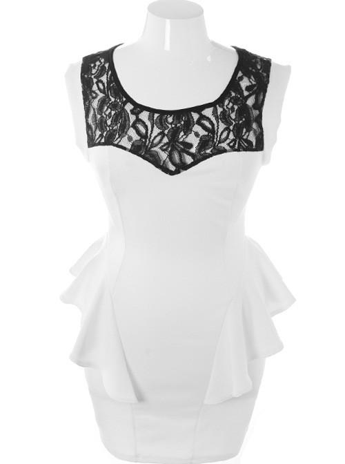 Plus Size Ravishing Trendy Peplum Hip White Dress
