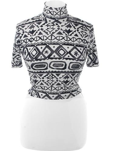 Plus Size Sexy Stretchy Tribal Crop Top