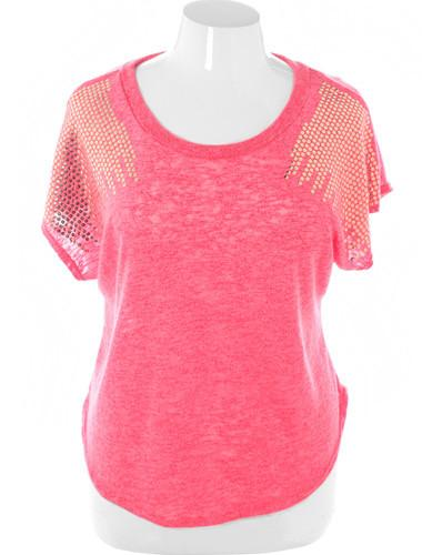 Plus Size Sexy Crop Sparkling Shoulder Pink Top