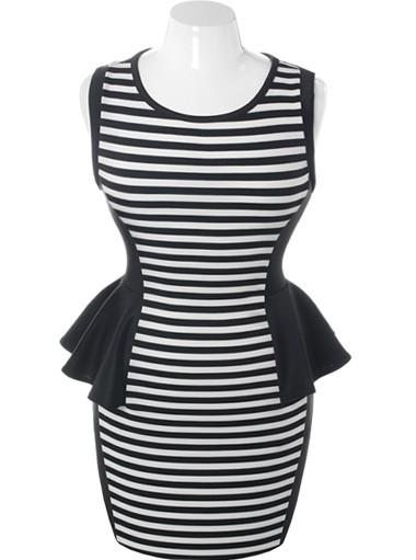 Plus Size Stylish Stripe Peplum Dress