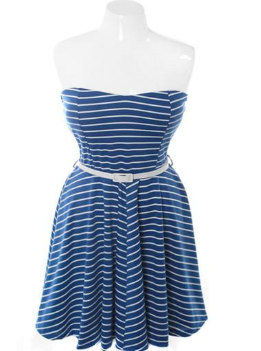 Plus Size Belted Stripe Tube Blue Dress