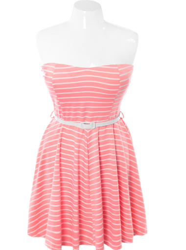 Plus Size Belted Stripe Tube Pink Dress