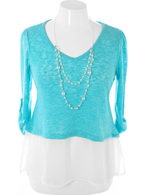 Plus Size Layered Knit Jewelry Teal Top