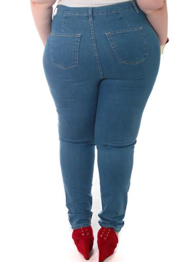 Plus Size Trendy High Waist Stretchy Blue Jeans