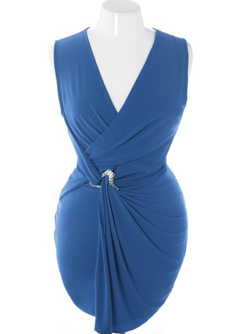 Plus Size Designer Sleeveless Pin Wrap Blue Dress