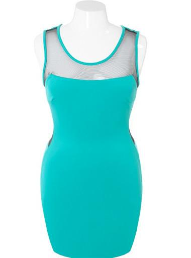 Plus Size Bodycon Scuba Mesh Teal Dress