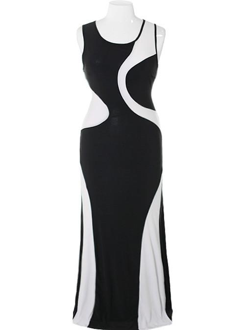 Plus Size Sexy Swirl Black Maxi Dress