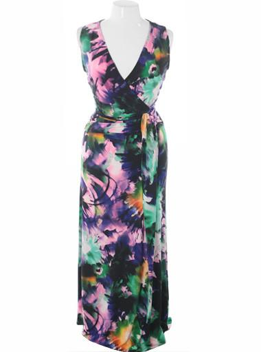 Plus Size Designer Floor Length Watercolor Floral Dress