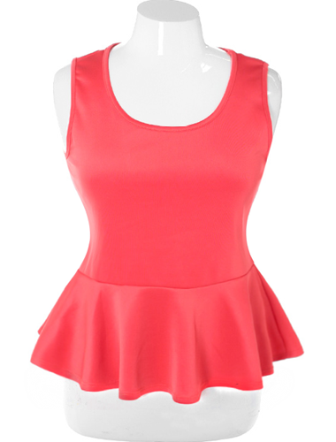 Plus Size Stylish Peplum Solid Coral Top