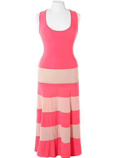 Plus Size Stripe Colorblock Coral Maxi Dress