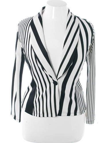 Plus Size Stylish Striped Fitted White Blazer