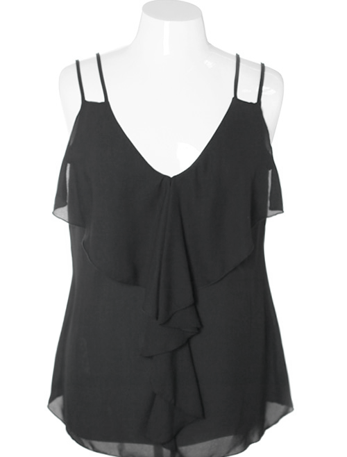 Plus Size Summer Sheer Ruffled Tank