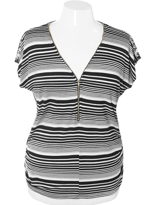 Plus Size Striped Lace Zip Up Blouse