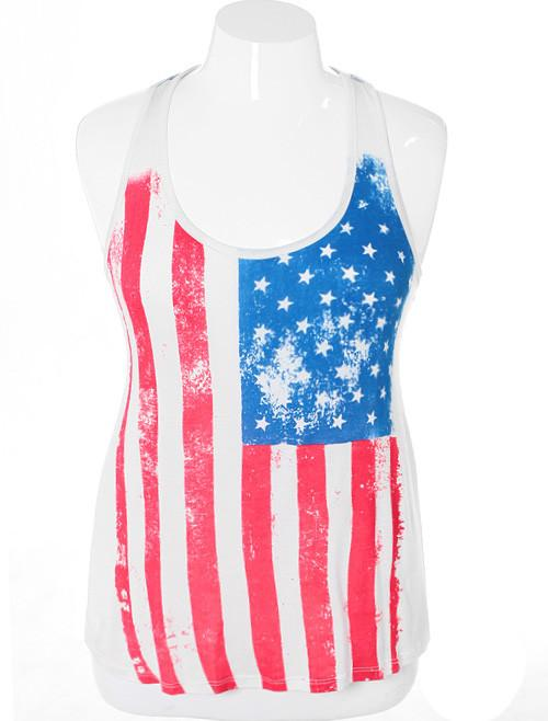 Plus Size Vintage Flag White Tank
