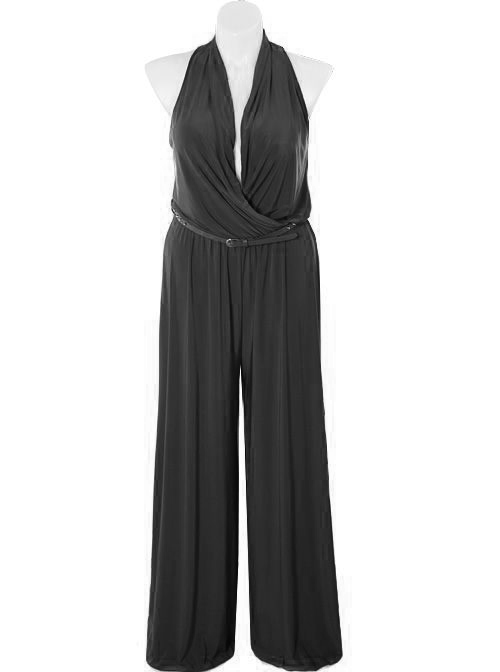 Plus Size Designer Drape Neck Black Jumpsuit