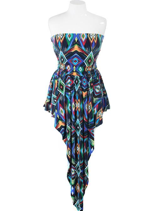 Plus Size Colorful Diamond Point Blue Dress