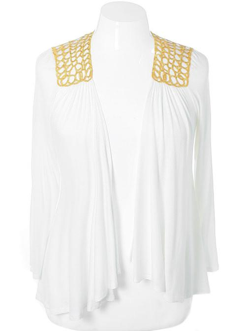 Plus Size Stylish Draped Off White Cardigan