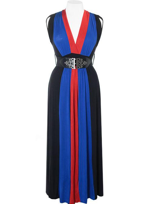 Plus Size Fabulous Belted Blue Maxi Dress