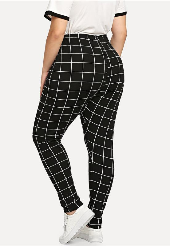 Plus Size Trendy Mod Grid Contrast Comfortable Leggings