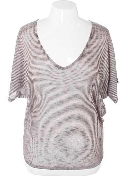 Plus Size Soft Loose Stripe Tan Top