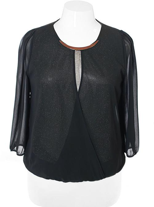 Plus Size Sparkling Sheer Black Bubble Blouse