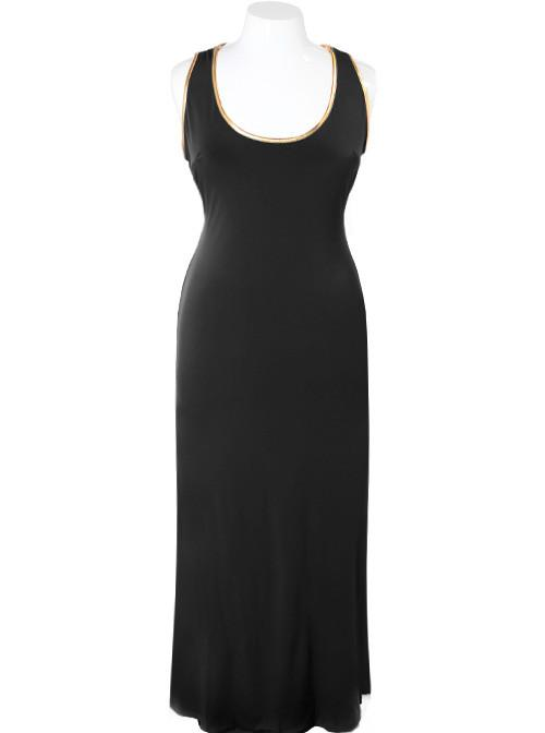 Plus Size Silky Criss-Cross Back Black Maxi Dress