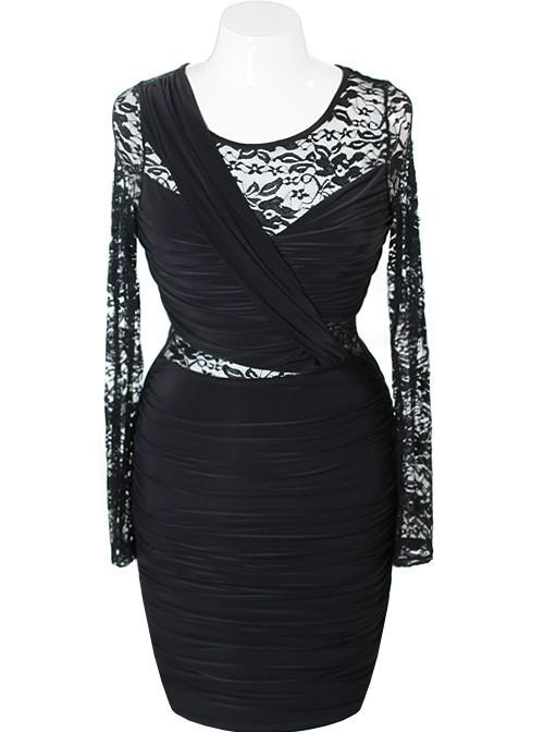 Plus Size Silky See Through Lace Black Dress