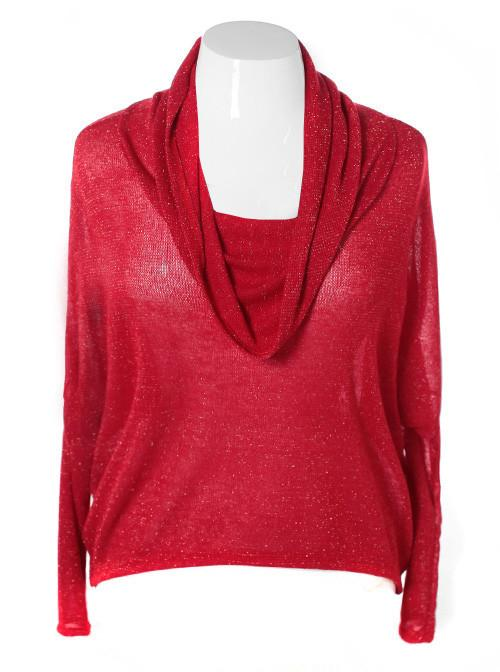 Plus Size Sparkling Cowl Neck Loose Red Top