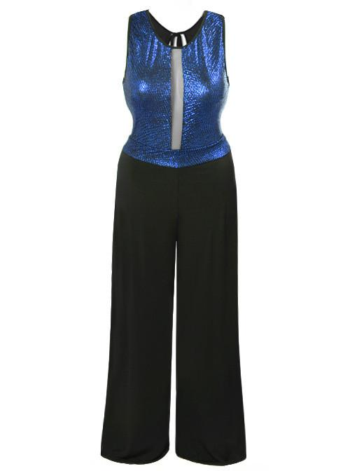 Plus Size Sparkling Sleeveless Blue Jumpsuit
