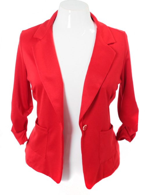 Plus Size Single Button Red Blazer