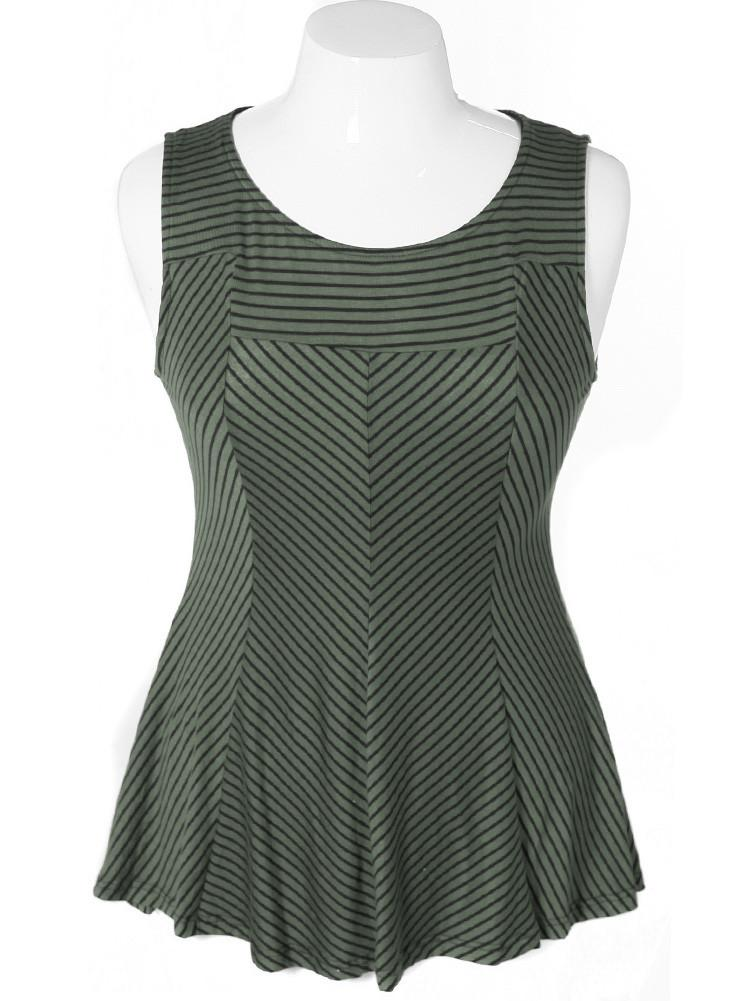 Plus Size Sexy Stripe Olive Tunic