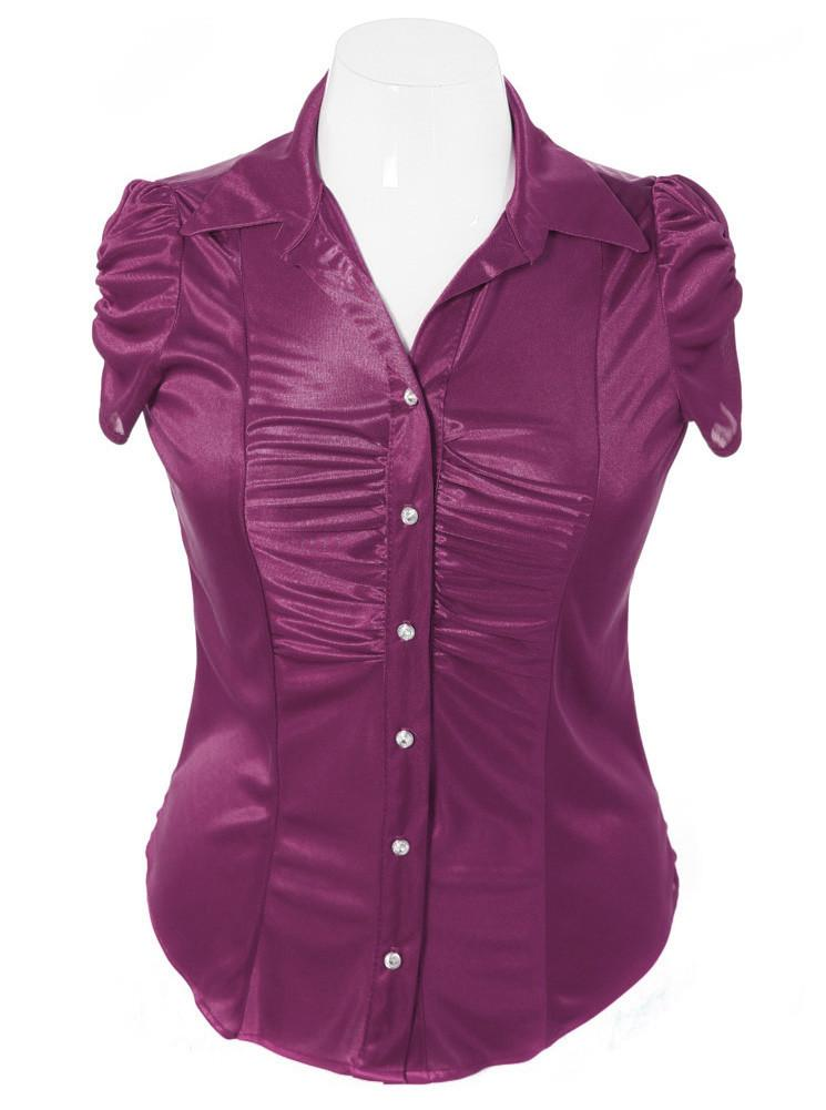 Plus Size Silky Diamond Button Purple Blouse