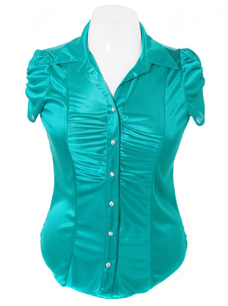 Plus Size Silky Diamond Button Teal Blouse