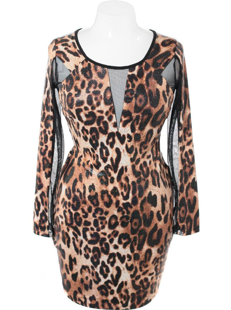 Plus Size Glitter See Through Mesh Leopard Dress