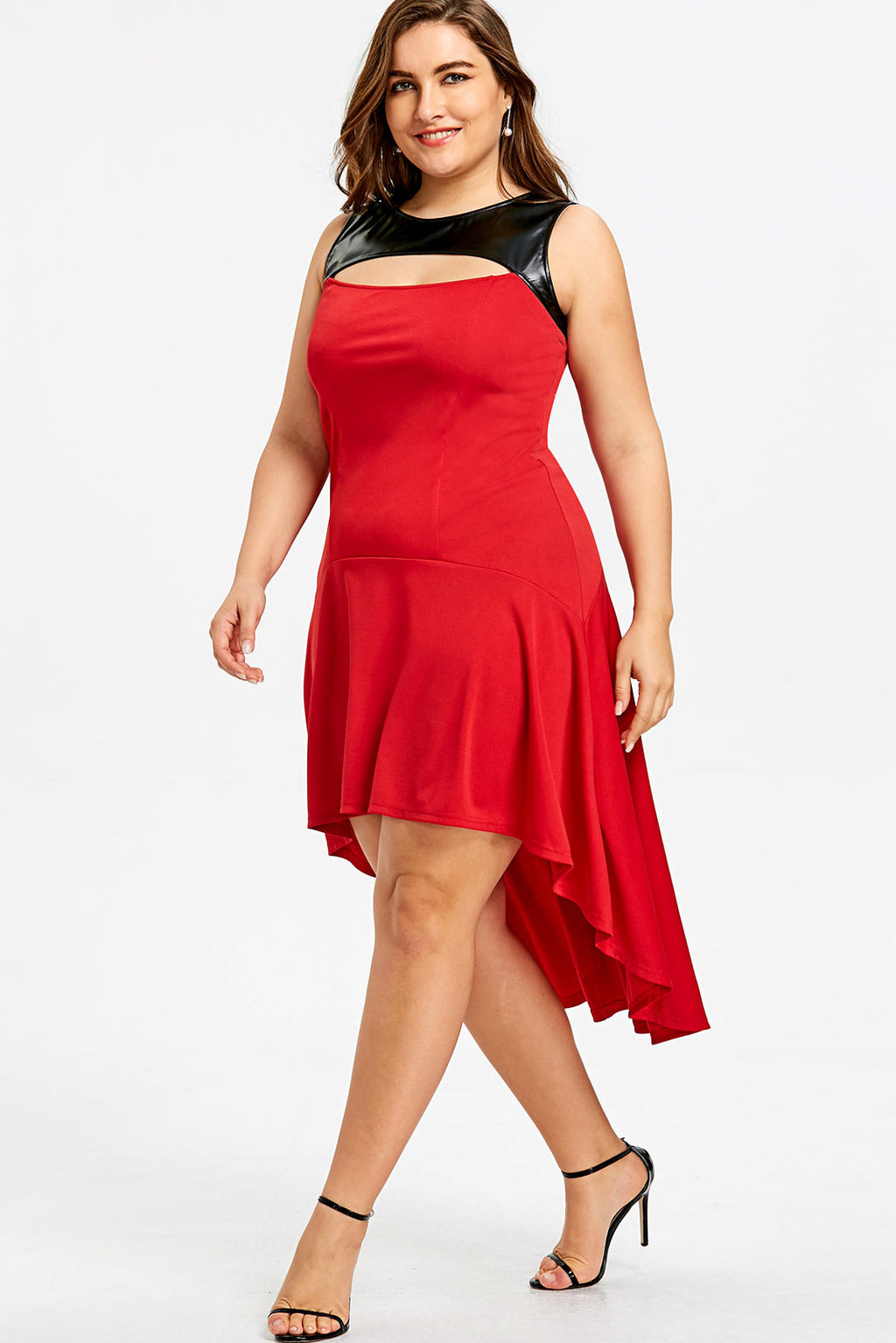 f24403f65711ac Plus Size Glam Faux Leather Panel High Low Flare Dress