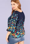 Plus Size Vibrant Floral Print Round Neck Comfortable Top