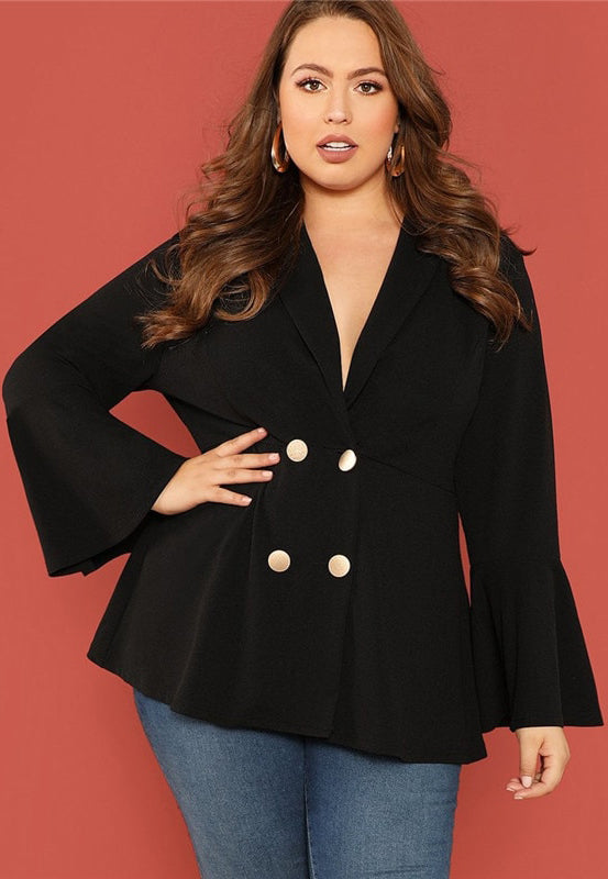 Plus Size Chic Double Breasted Collar Blazer Jacket Top