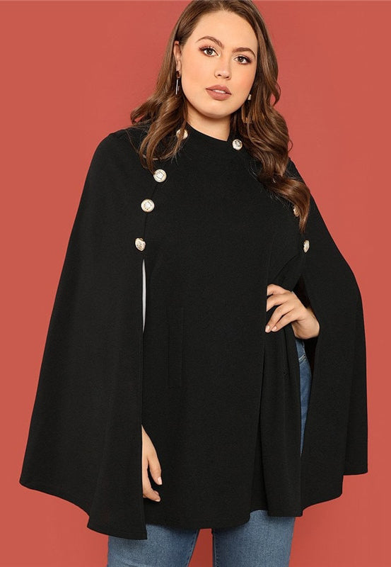 Plus Size Designer Cloak Sleeves Stand Collar Top