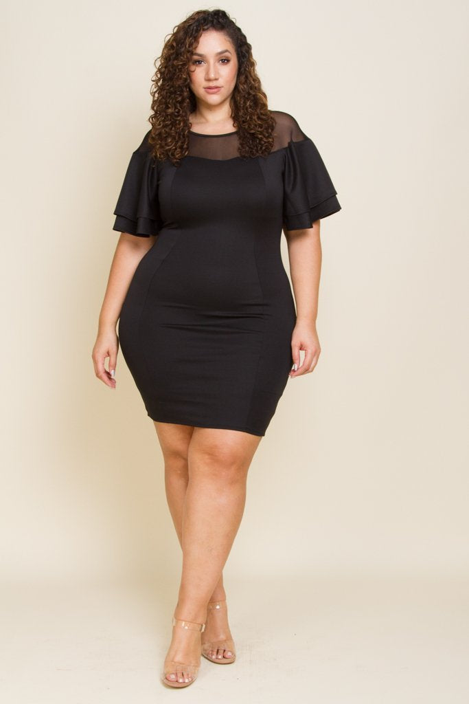 Plus Size Bold Ruffle Shoulder Top Mesh Dress