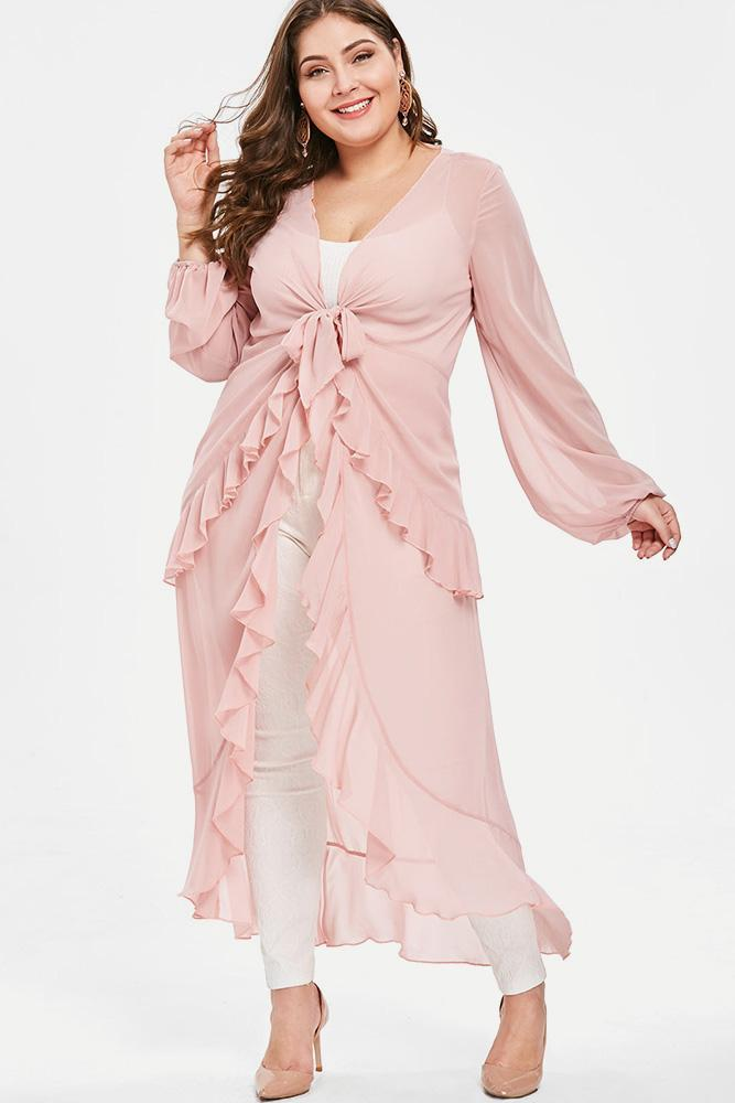 Plus Size Lovely Ruffle Flowy Cardigan Dress