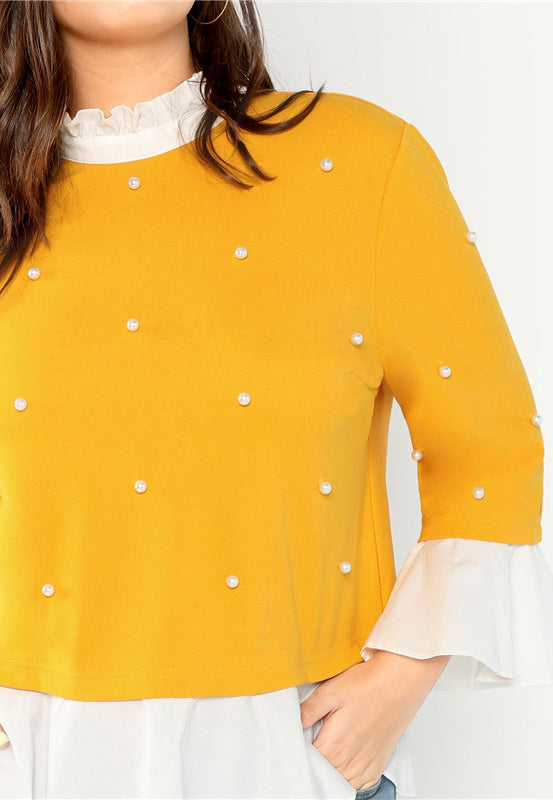 Plus Size Pearl Beaded Ruffle Stand Collar Butterfly Sleeve Top