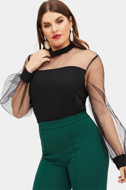 Plus Size Want You Black Mesh Yoke Lantern Long Sleeve Top