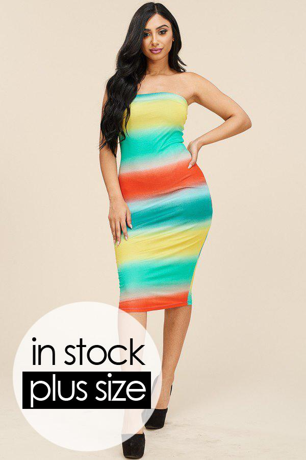 Plus Size Tie Dye Strapless Dress Green Orange Yellow