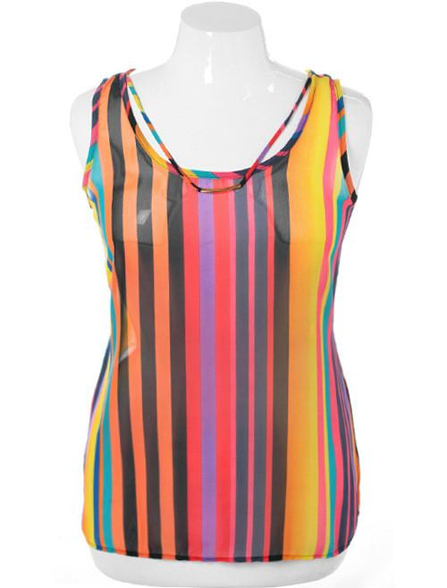 Plus Size Colorful Stripe Yellow Tank Top