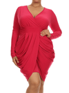 Plus Size Long Sleeve V Neck Bubble Hot Pink Dress