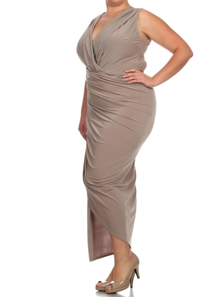 Plus Size Night To Remember TaupeMaxi Dress